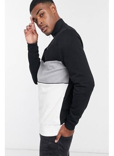 Oksit Louis Teor Yarım Fermuarlı Panelli Polar Sweatshirt Siyah